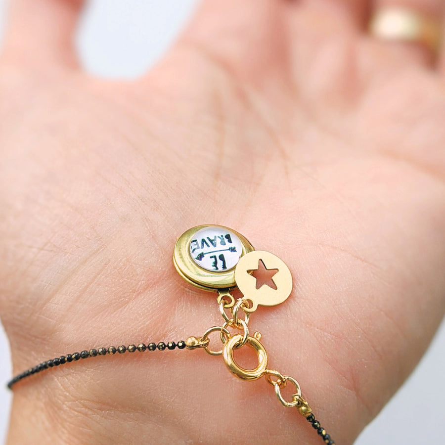 """BRAVE LITTLE STAR"" BLACK BRASS MINIMALIST LOCKET BRACELET - One Thing Lockets 