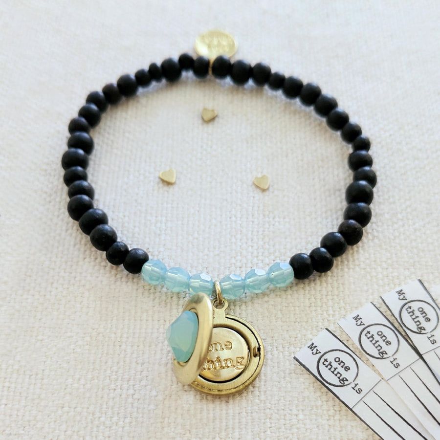 "KIDS! - ""BLUE SKY"" EBONY WOOD BEAD LOCKET BRACELET - One Thing Lockets 