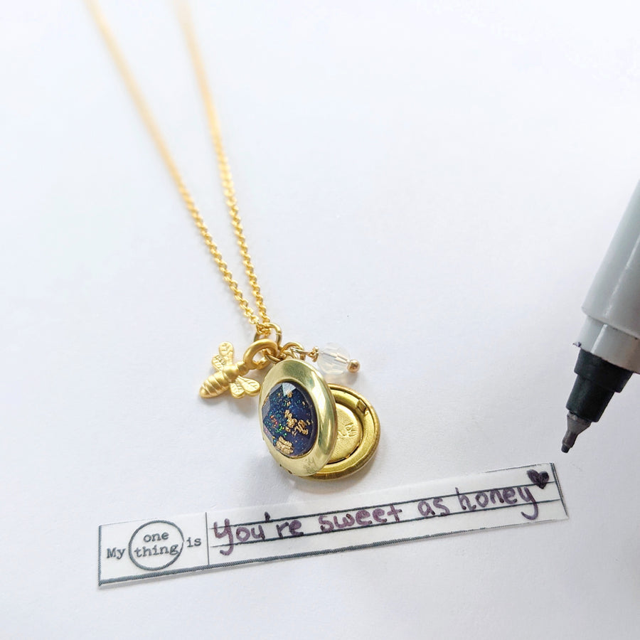 """BUMBLE"" LOCKET NECKLACE - Non-Tarnish Coating - One Thing Lockets"
