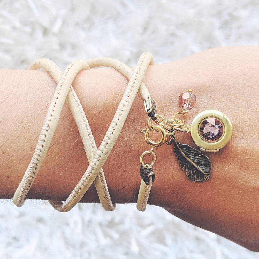 """CHILD OF LAVENDER"" LOCKET & CORK WRAP BRACELET/NECKLACE (VEGAN) - One Thing Lockets 
