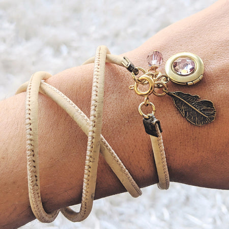 NEW! - CHILD OF LAVENDER LOCKET & CORK WRAP BRACELET/NECKLACE (VEGAN) - One Thing Lockets | Empowering People With Their Own Message