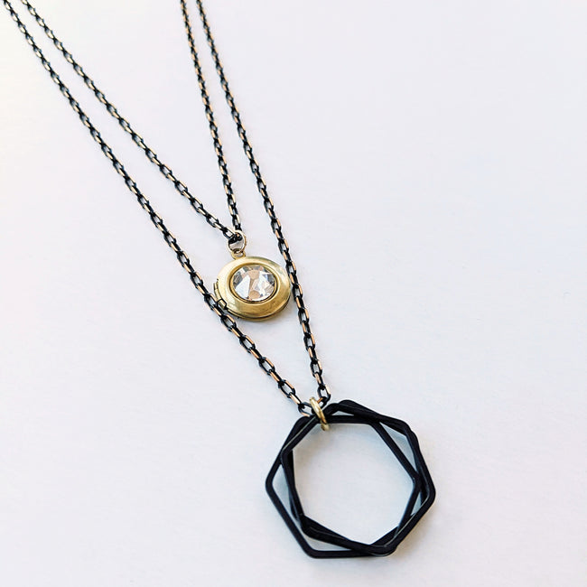 "WEAR IT 3 WAYS! - ADJUSTABLE ""CITY OF GLASS"" BLACK BRASS LOCKET WRAP NECKLACE - One Thing Lockets 