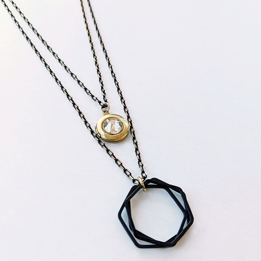 "WEAR IT 3 WAYS! - ADJUSTABLE ""CITY OF GLASS"" BLACK BRASS LOCKET WRAP NECKLACE - ALL PROFITS DONATED THE VANCOUVER UNION GOSPEL MISSION - One Thing Lockets 