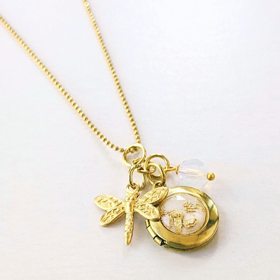 DRAGONFLY CHARM & WHITE GOLD FLAKES LOCKET NECKLACE - One Thing Lockets | Empowering People With Their Own Message
