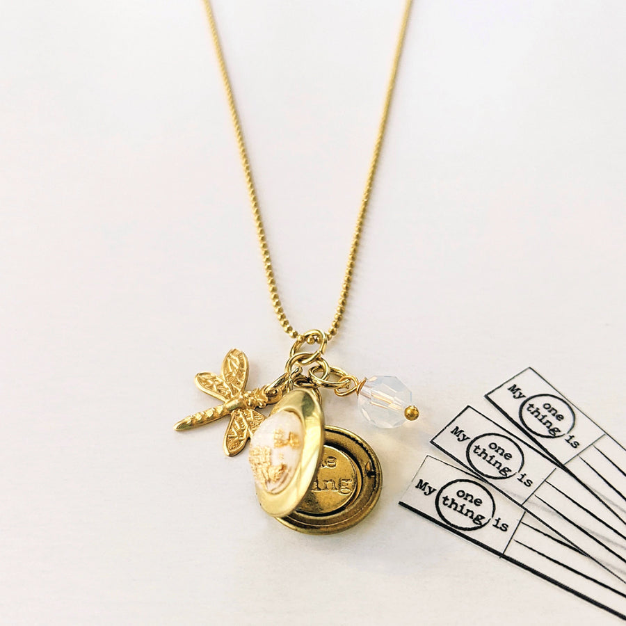 DRAGONFLY CHARM & WHITE GOLD FLAKES LOCKET NECKLACE - One Thing Lockets