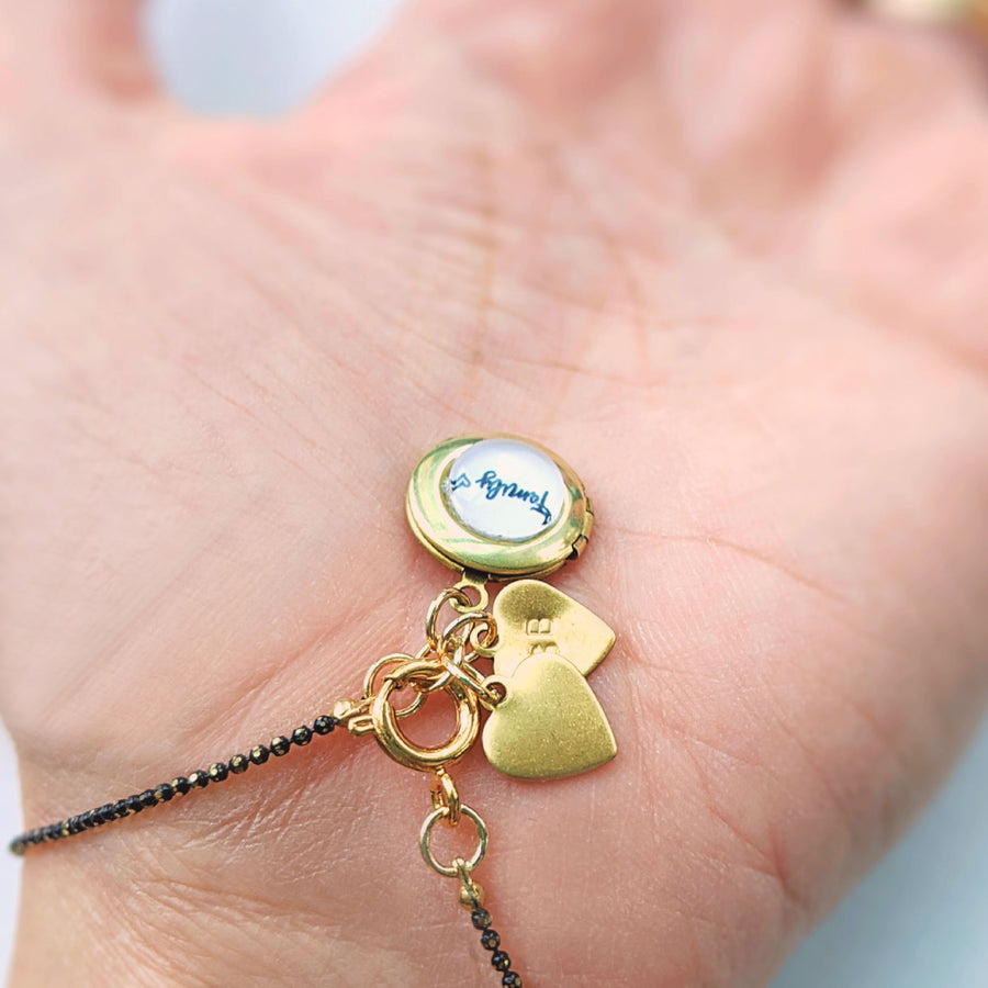 "PERSONALIZABLE ""FAMILY"" LOCKET CHARM BRACELET/NECKLACE - HANDSTAMPED INITIALS - ALL PROFITS DONATED TO PACIFIC POSTPARTUM SOCIETY - One Thing Lockets 