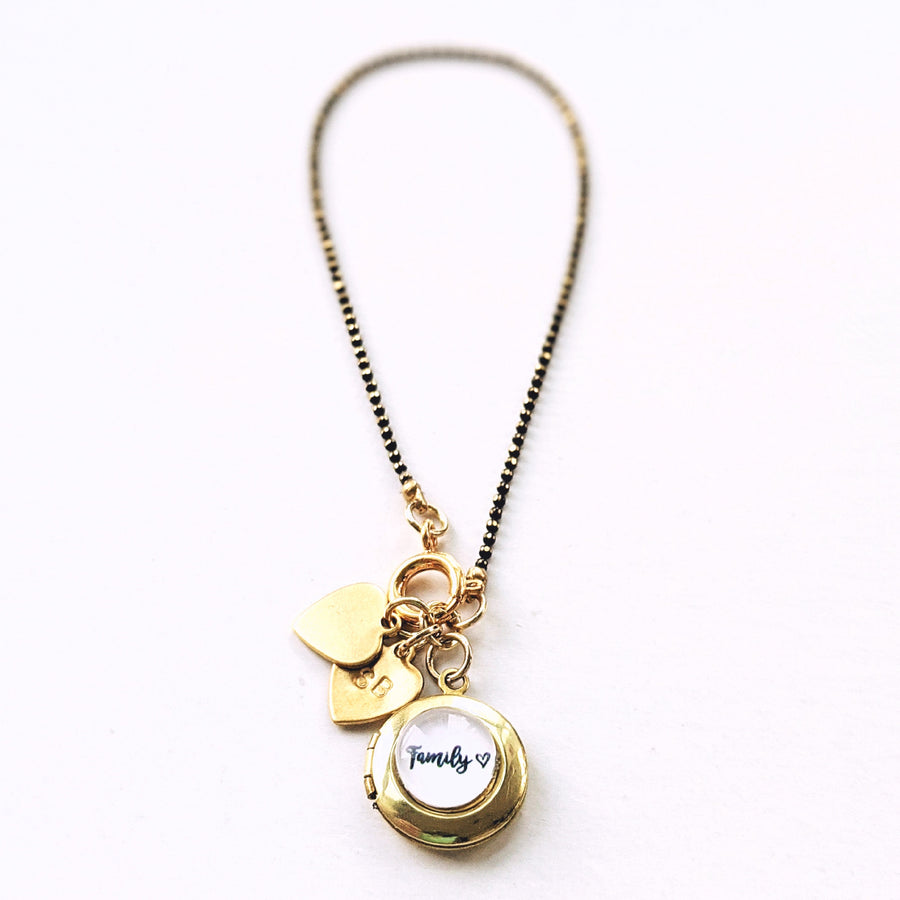 "PERSONALIZABLE ""FAMILY"" LOCKET CHARM BRACELET/NECKLACE - HANDSTAMPED INITIALS - One Thing Lockets 