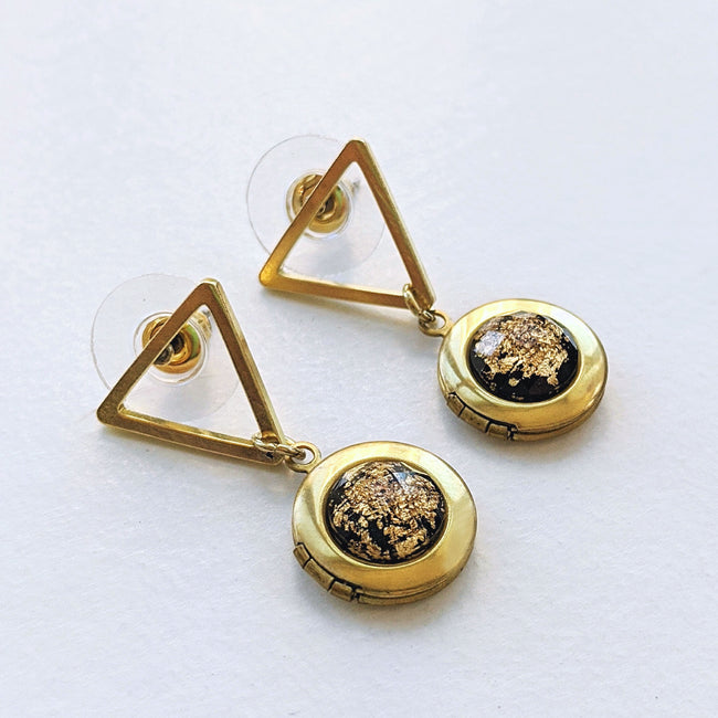 """FIRECRACKER"" GEOMETRIC LOCKET EARRINGS (Hypo-allergenic & light-weight!) - One Thing Lockets"