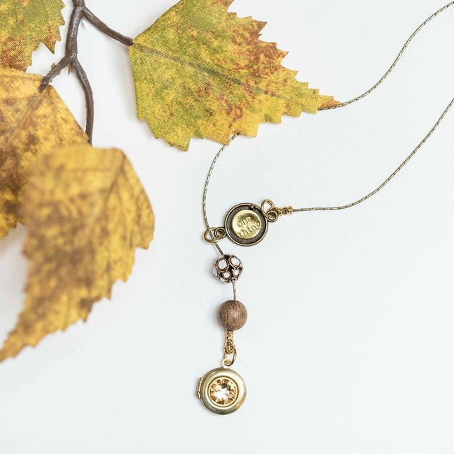 """GOLDEN HOURS"" LOCKET LARIAT NECKLACE - EXCLUSIVE SWAROVSKI FILIGREE BEAD - One Thing Lockets 
