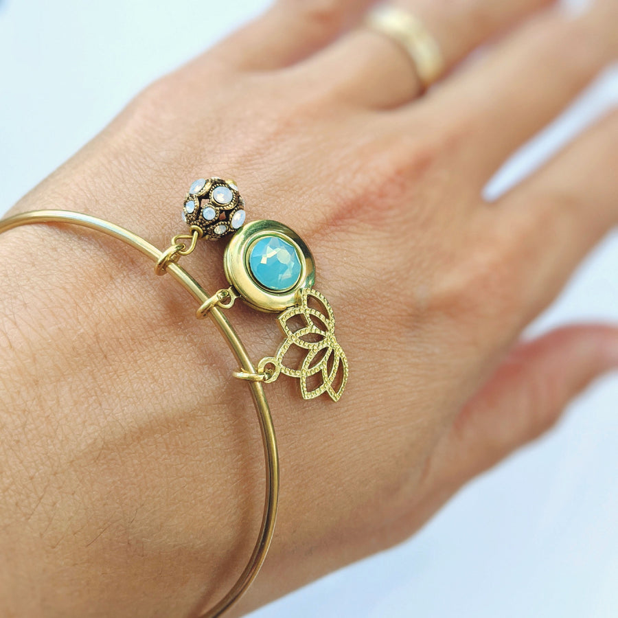 """FREE SPIRIT"" LOTUS & LOCKET BANGLE - EXCLUSIVE SWAROVSKI BEAD - One Thing Lockets 