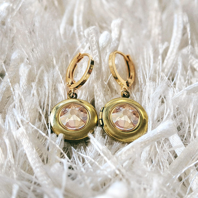"""GLOW"" SWAROVSKI LOCKET EARRINGS (Hypo-allergenic & ultra-light weight!) - One Thing Lockets"