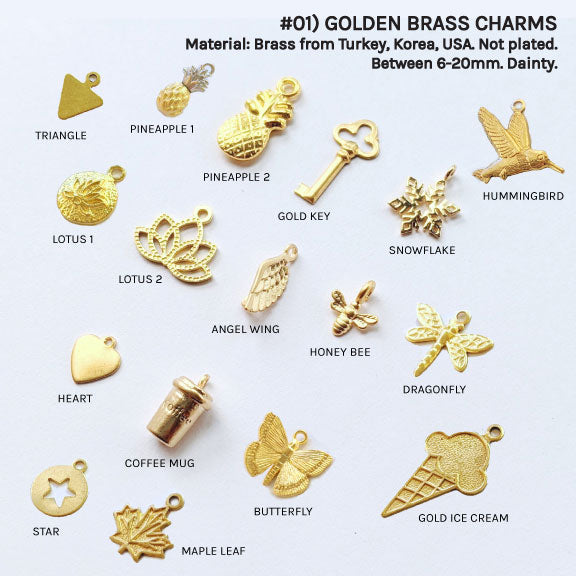 DAINTY GOLDEN CHARMS FOR CUSTOM BRACELET/NECKLACE - One Thing Lockets