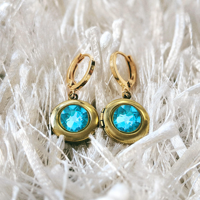 """GREECE ESCAPE"" SWAROVSKI LOCKET EARRINGS (Hypo-allergenic & ultra-light weight!) - One Thing Lockets"