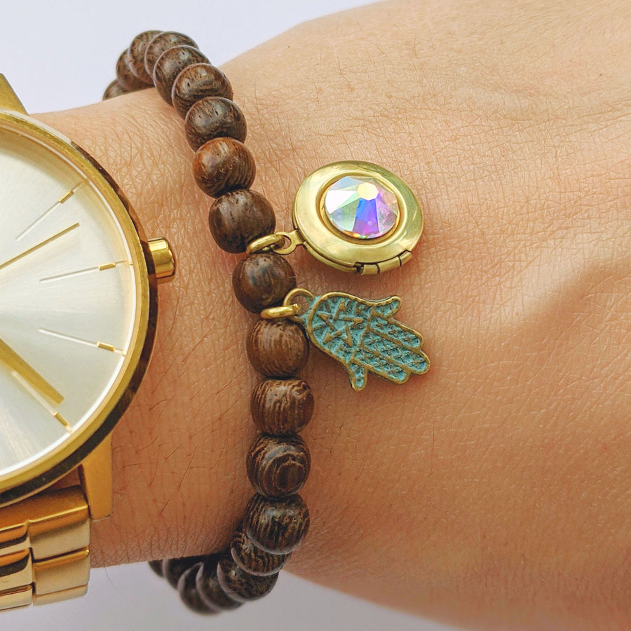 """HAMSA"" SWAROVSKI WOOD BEAD LOCKET BRACELET - One Thing Lockets 