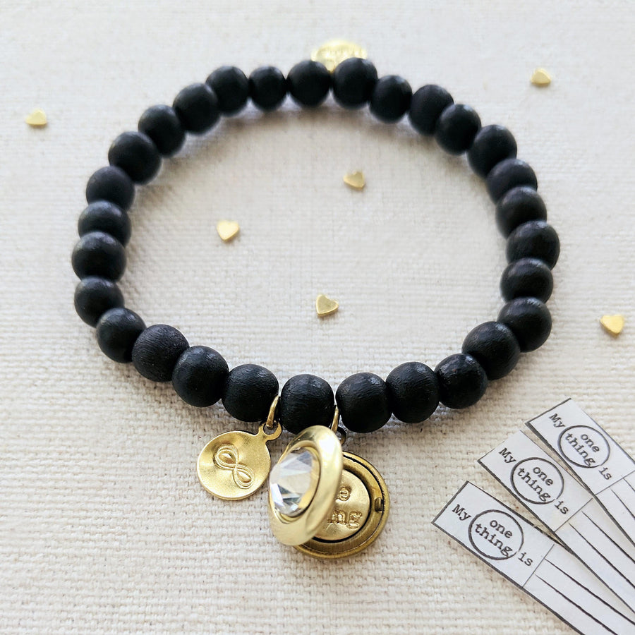 """YOU ARE INFINITE"" WOOD BEAD LOCKET BRACELET - One Thing Lockets 