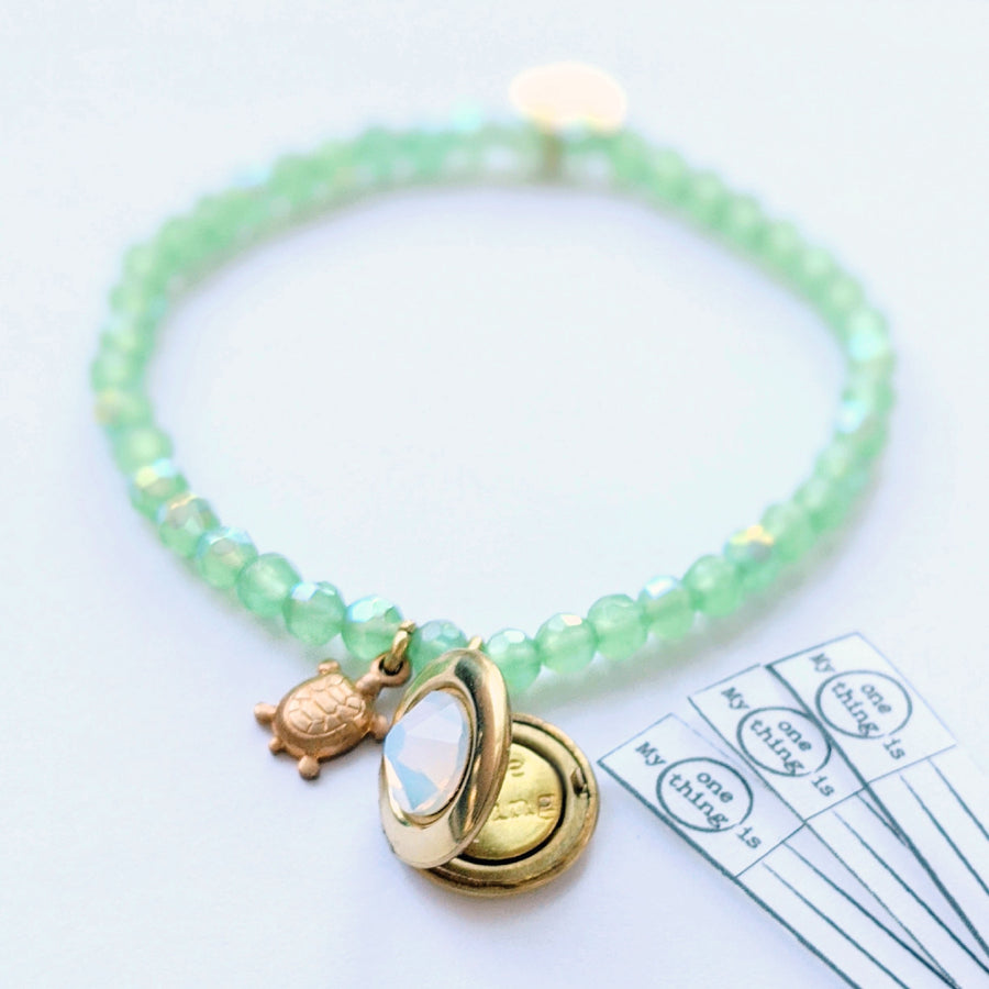 "KIDS! - ""IRIDESCENCE"" STRETCHY TURTLE LOCKET BRACELET - One Thing Lockets 