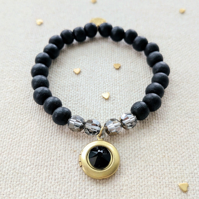 """LAVA ROCK"" WOOD BEAD LOCKET BRACELET - One Thing Lockets 
