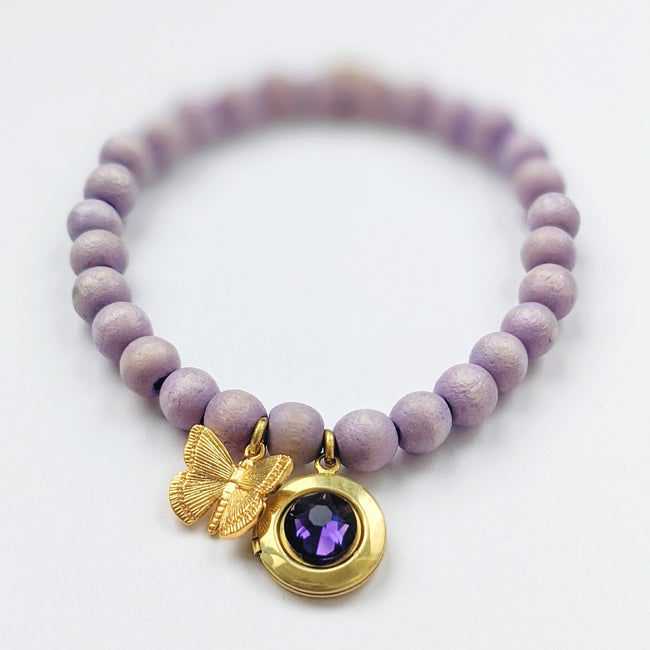 """LILAC BUTTERFLY"" WOOD BEAD LOCKET BRACELET - One Thing Lockets"