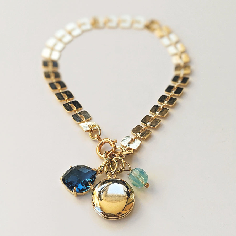 """LONDON BLUE GATSBY"" GLAM LOCKET BRACELET - One Thing Lockets"