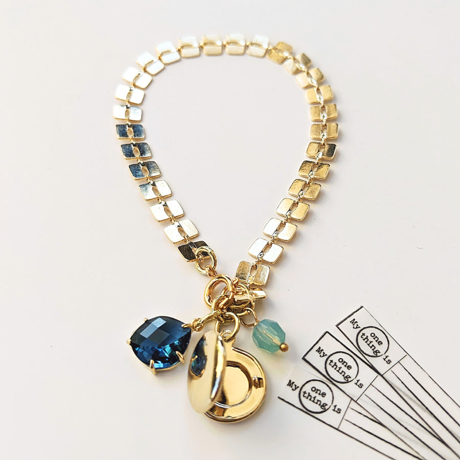 """LONDON BLUE GATSBY"" GLAM LOCKET BRACELET - One Thing Lockets 