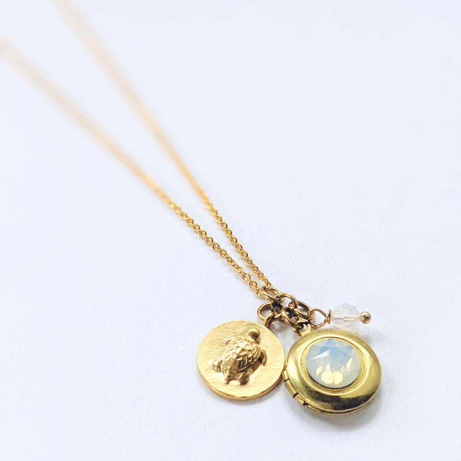 """LONGEVITY"" TURTLE LOCKET NECKLACE"