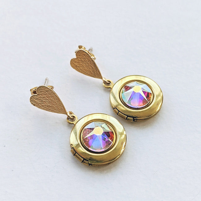 "CHOOSE YOUR OWN COLOR! - ""LOVE DROP"" SWAROVSKI LOCKET EARRINGS (Hypo-allergenic & ultra light-weight!) - One Thing Lockets 