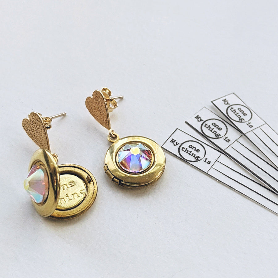 "CHOOSE YOUR OWN COLOR! - ""LOVE DROP"" SWAROVSKI LOCKET EARRINGS (Hypo-allergenic & ultra light-weight!) - One Thing Lockets"