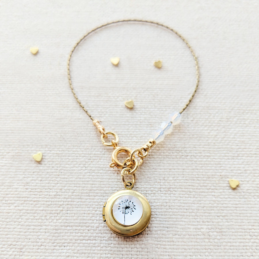 "KIDS! - ""MAKE A WISH"" DANDELION LOCKET BRACELET - One Thing Lockets 
