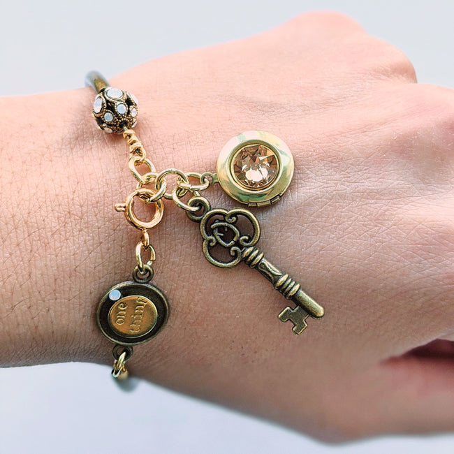 """MARIGOLD"" LOCKET & KEY CHARM BANGLE - One Thing Lockets 