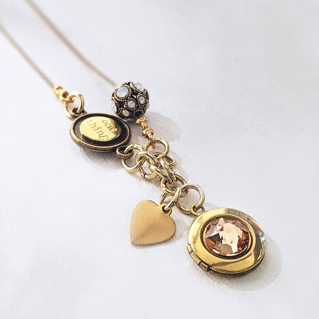 "PERSONALIZABLE ""MARIGOLD"" LOCKET NECKLACE - EXCLUSIVE SWAROVSKI BEAD - One Thing Lockets 