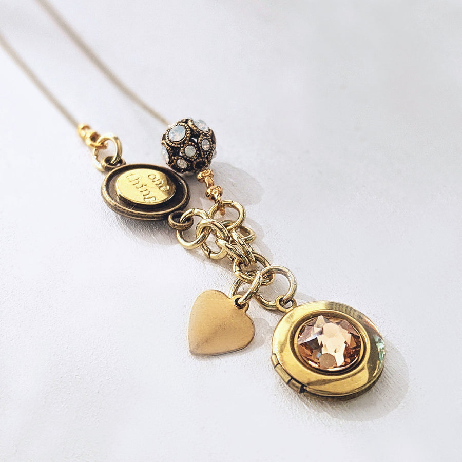 "PERSONALIZABLE ""MARIGOLD"" LOCKET NECKLACE - EXCLUSIVE SWAROVSKI BEAD - One Thing Lockets"