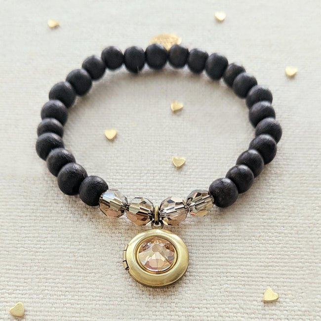 KIDS! - MAUI WOOD BEAD LOCKET BRACELET - One Thing Lockets | Empowering People With Their Own Message