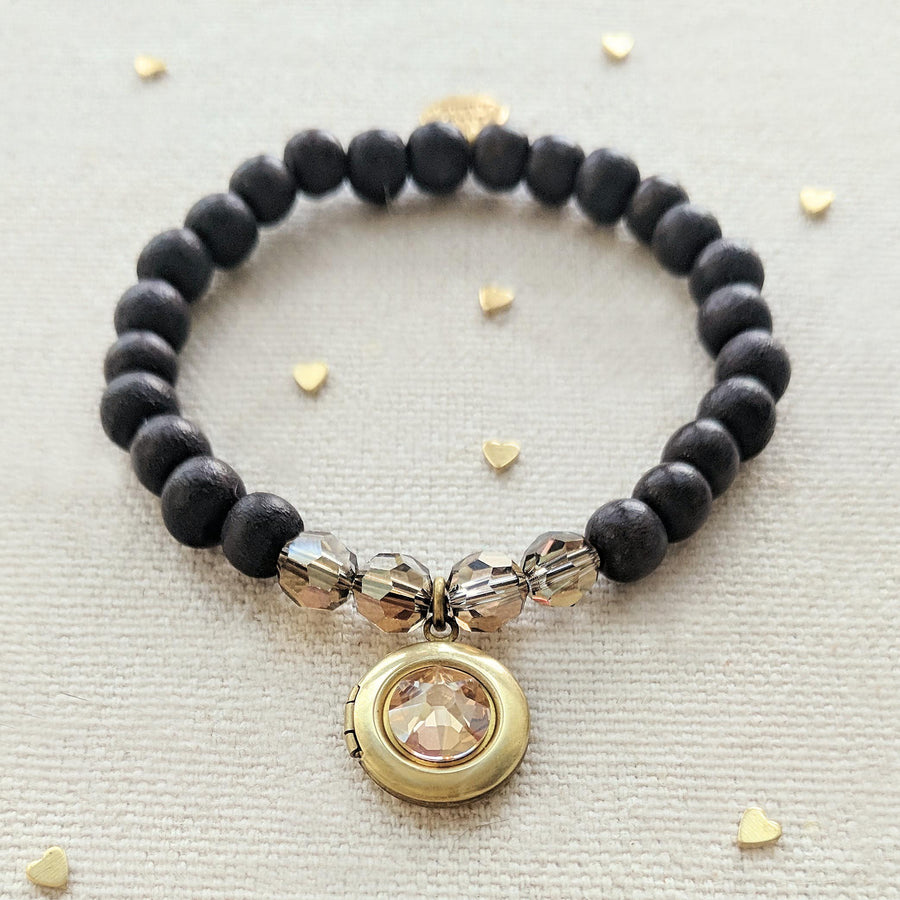"KIDS! - ""MAUI"" WOOD BEAD LOCKET BRACELET - One Thing Lockets 