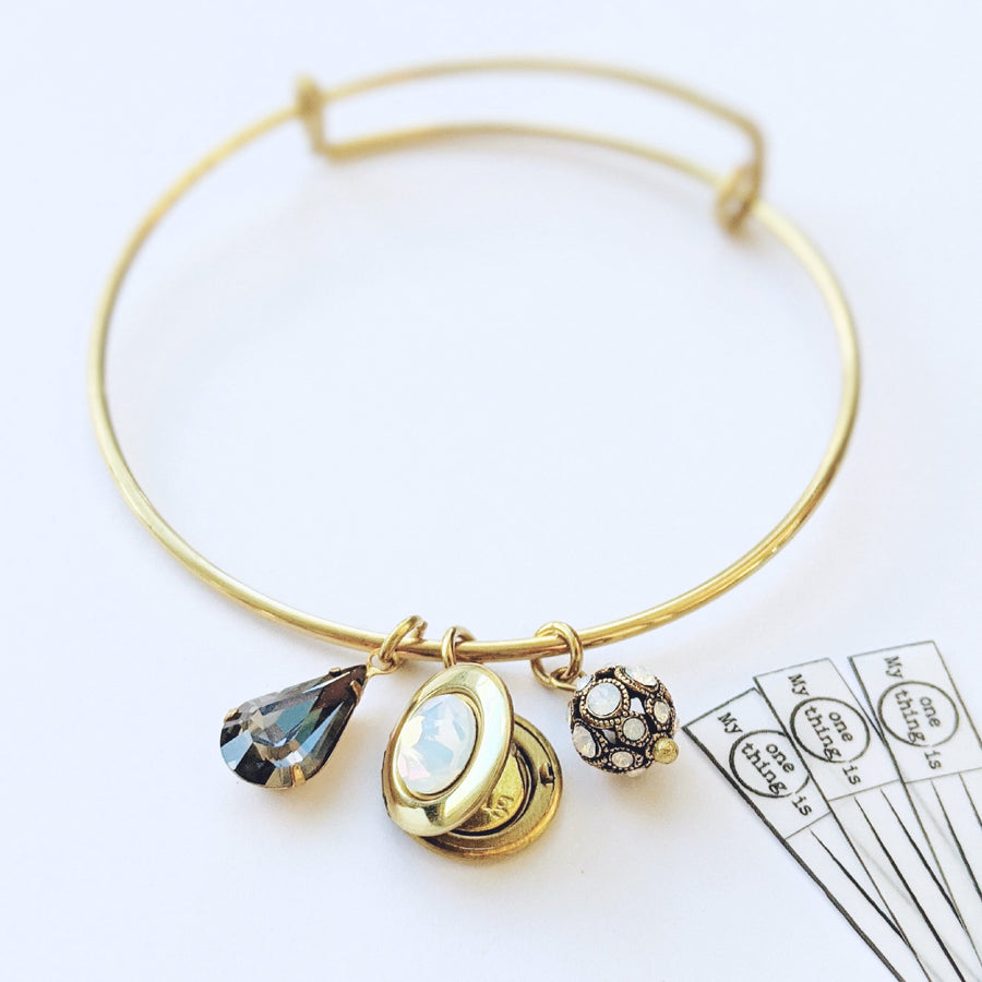 """MON CHERI"" VINTAGE SWAROVSKI CHARM & LOCKET BANGLE - EXCLUSIVE SWAROVSKI BEAD - One Thing Lockets 
