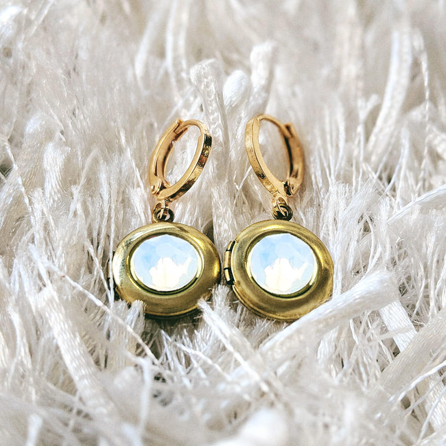 """MOON GEM"" SWAROVSKI LOCKET EARRINGS (Hypo-allergenic & ultra-light weight!) - One Thing Lockets"