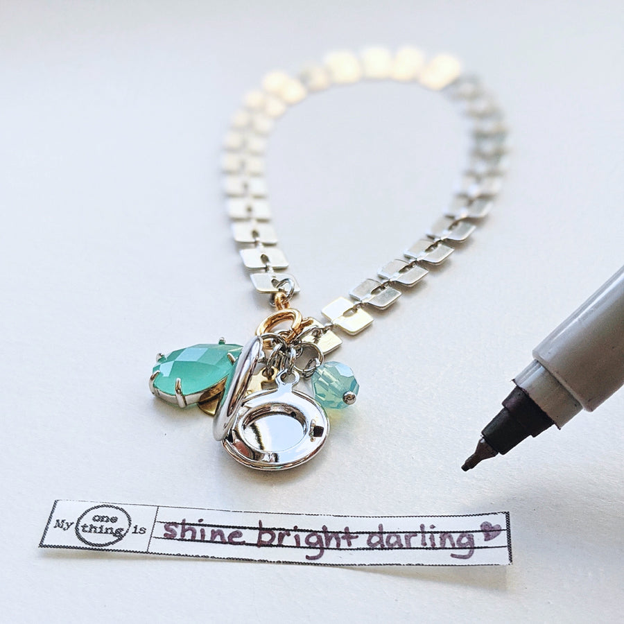 """MORAINE GATSBY"" GLAM SILVER LOCKET BRACELET - One Thing Lockets 