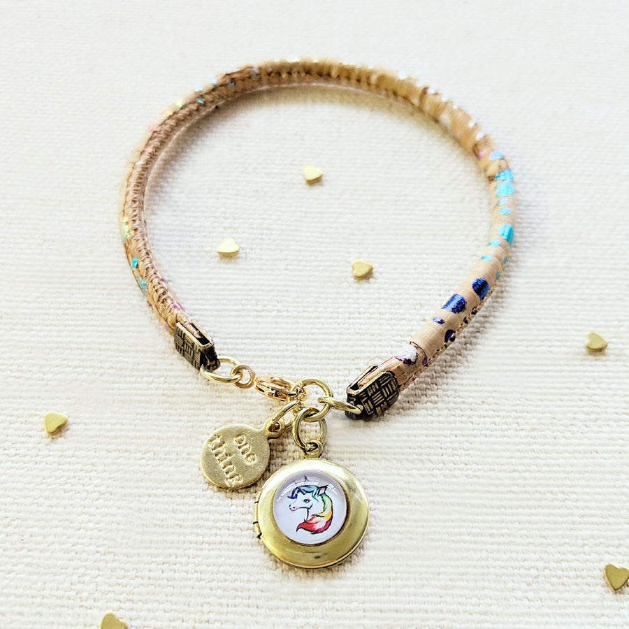 "KIDS! - ""MY RAINBOW UNICORN"" LOCKET BRACELET ON CORK (VEGAN) - One Thing Lockets 