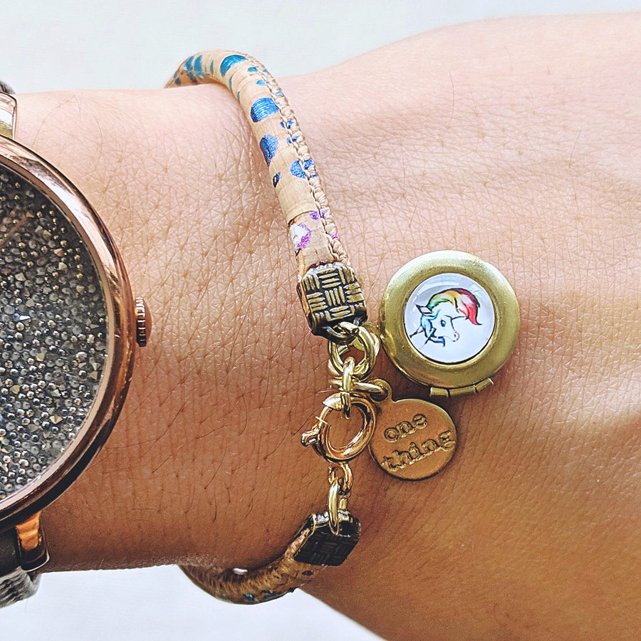 """MY RAINBOW UNICORN"" LOCKET BRACELET ON CORK (VEGAN) - One Thing Lockets 