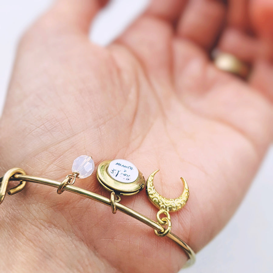 """NOW, I'M A WARRIOR"" MOON & LOCKET CHARM BANGLE - One Thing Lockets"