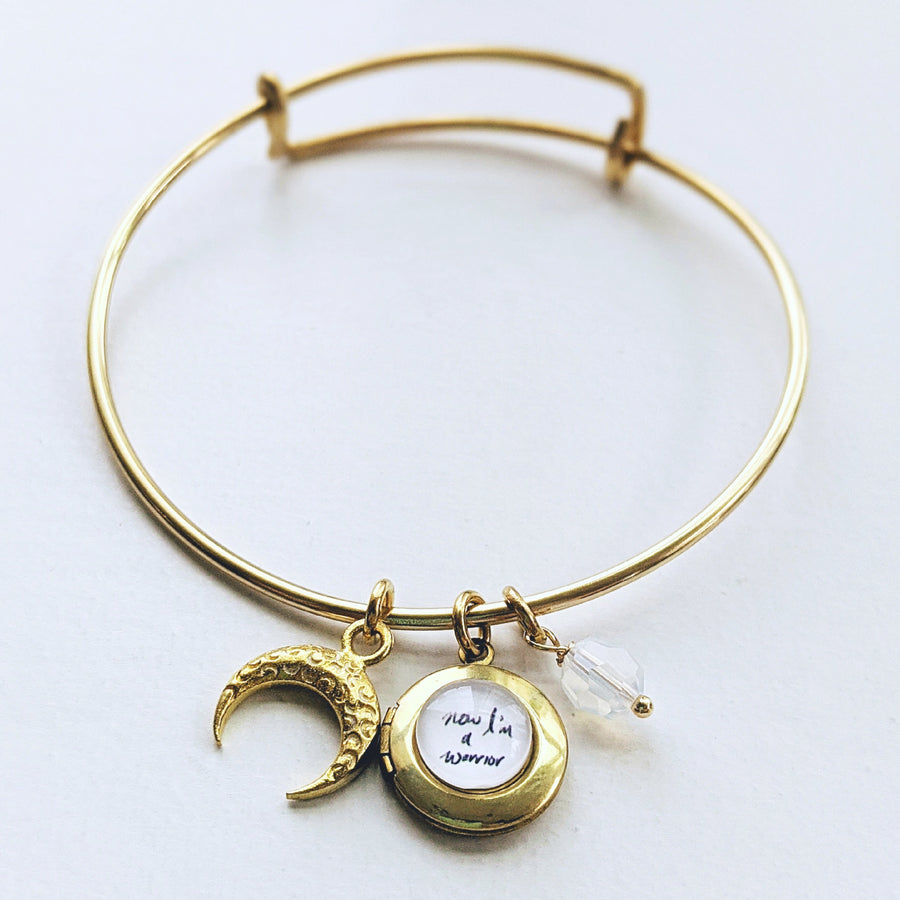 """NOW, I'M A WARRIOR"" MOON & LOCKET CHARM BANGLE - ALL PROFITS DONATED TO PACIFIC POSTPARTUM SOCIETY - One Thing Lockets"