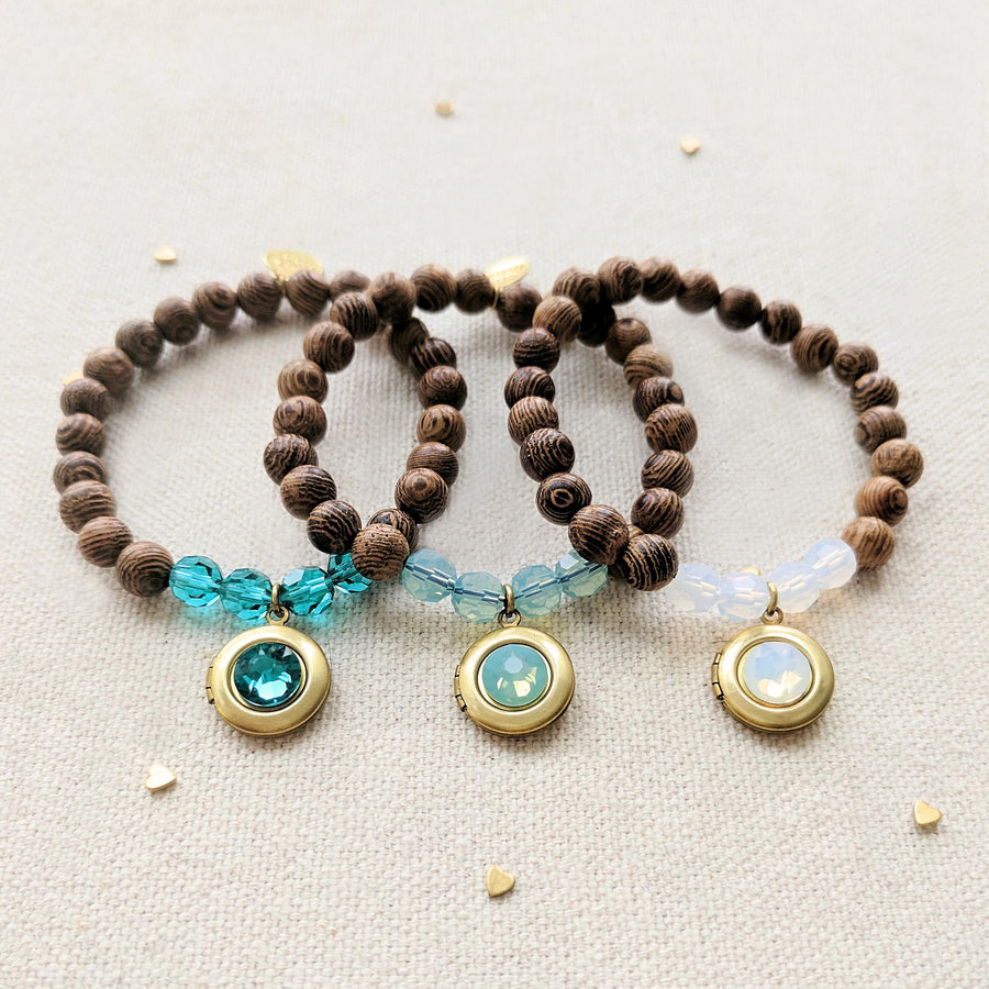 BEACH DAY NATURAL WOOD BEAD LOCKET BRACELET SET