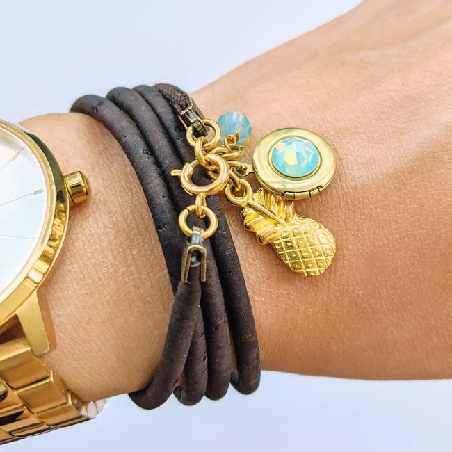 """OHANA"" LOCKET & CORK WRAP BRACELET/NECKLACE (VEGAN) - One Thing Lockets 