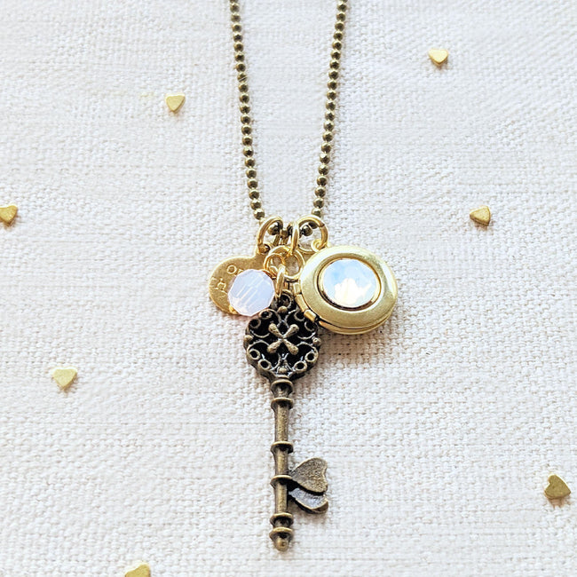 "ADJUSTABLE ""ONE DREAM"" VINTAGE KEY & BALL CHAIN LOCKET NECKLACE (LONG) - One Thing Lockets 