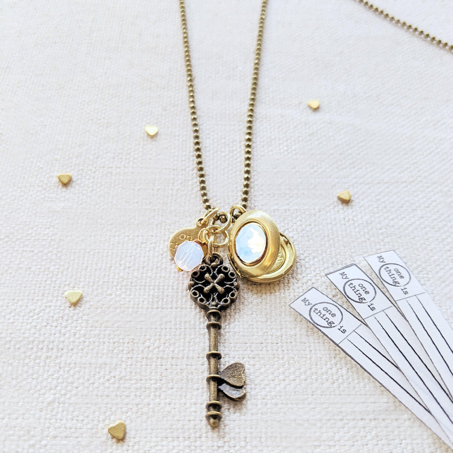 "ADJUSTABLE ""ONE DREAM"" VINTAGE KEY & BALL CHAIN LOCKET NECKLACE (LONG) - ALL PROFITS DONATED TO ""MAMAS FOR MAMAS"" - One Thing Lockets"