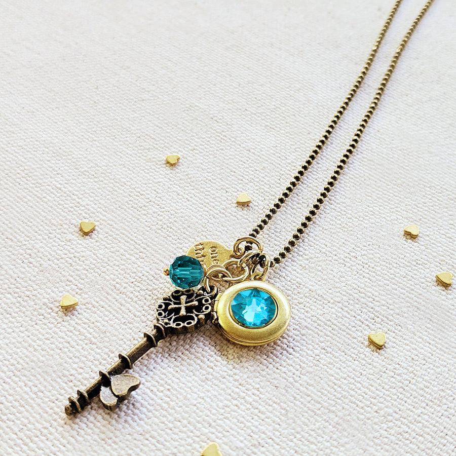 "ADJUSTABLE ""ONE SOUL"" VINTAGE KEY & BALL CHAIN LOCKET NECKLACE (LONG) - One Thing Lockets 