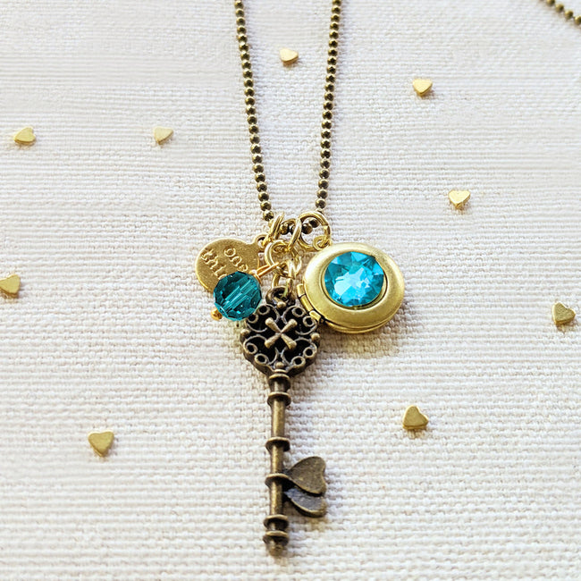 "ADJUSTABLE ""ONE SOUL"" VINTAGE KEY & BALL CHAIN LOCKET NECKLACE (LONG) - ALL PROFITS DONATED TO ""MAMAS FOR MAMAS"" - One Thing Lockets 