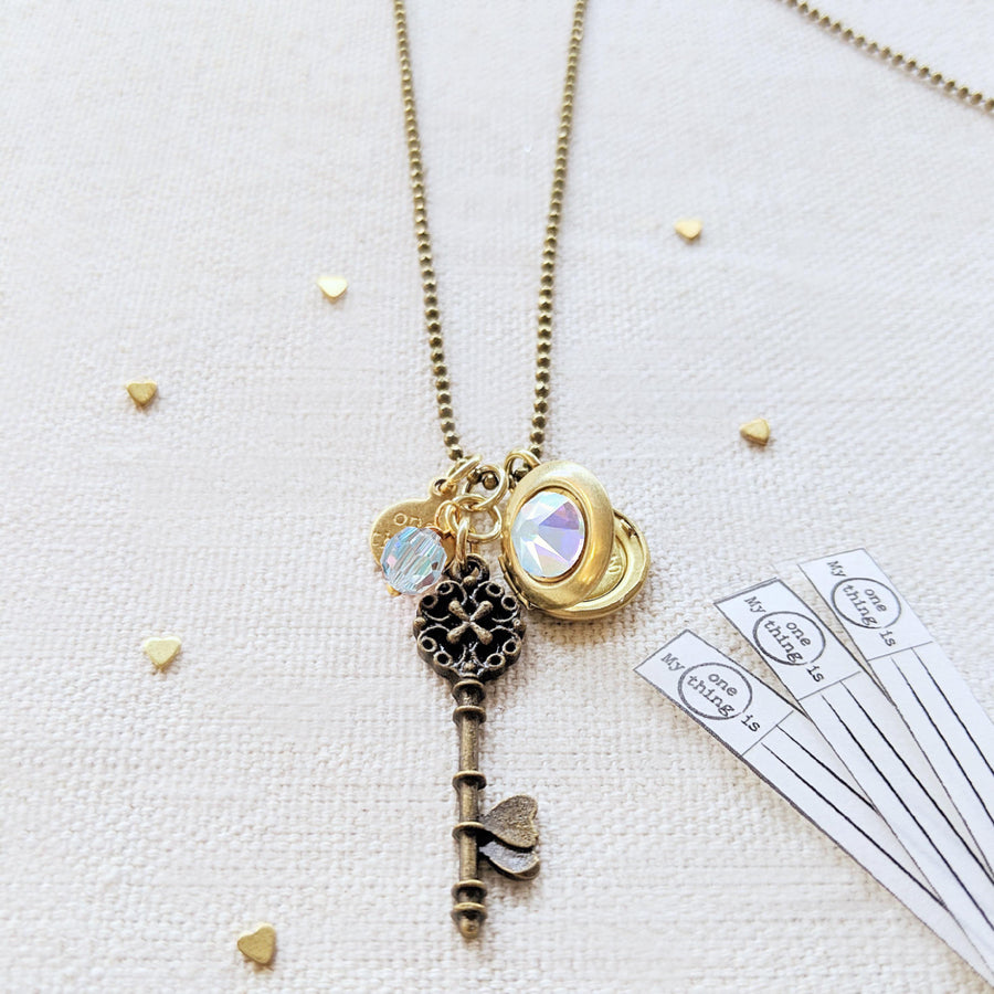"ADJUSTABLE ""ONE VOICE"" VINTAGE KEY & BALL CHAIN LOCKET NECKLACE (LONG) - ALL PROFITS DONATED TO ""MAMAS FOR MAMAS"" - One Thing Lockets 