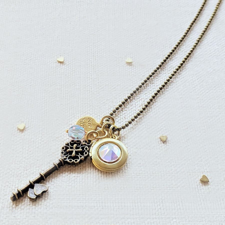 "ADJUSTABLE ""ONE VOICE"" VINTAGE KEY & BALL CHAIN LOCKET NECKLACE (LONG) - ALL PROFITS DONATED TO ""MAMAS FOR MAMAS"" - One Thing Lockets"