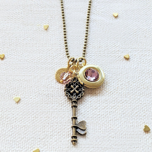 "ADJUSTABLE ""ONE HEART"" VINTAGE KEY & BALL CHAIN LOCKET NECKLACE (LONG) - One Thing Lockets 