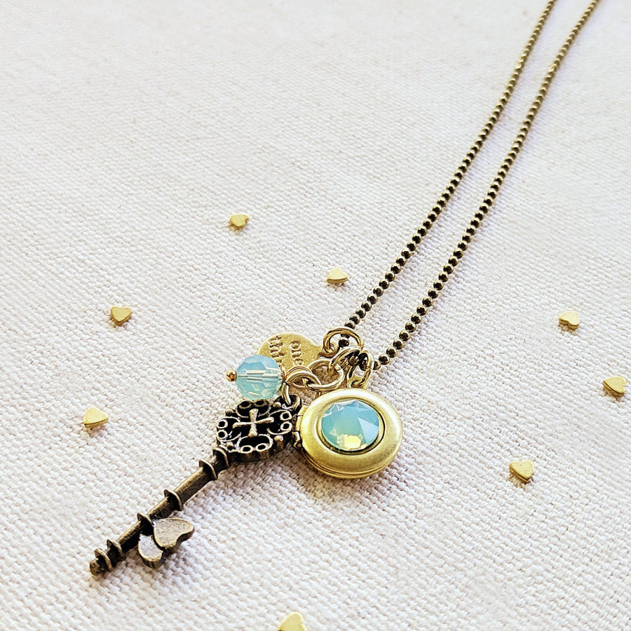 "ADJUSTABLE ""ONE LOVE"" VINTAGE KEY & BALL CHAIN LOCKET NECKLACE (LONG) - ALL PROFITS DONATED TO ""MAMAS FOR MAMAS"" - One Thing Lockets"